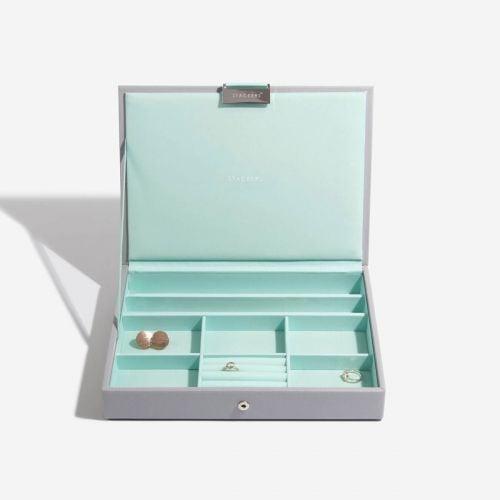 pudełko na biżuterię z pokrywką Classic szaro-miętowe