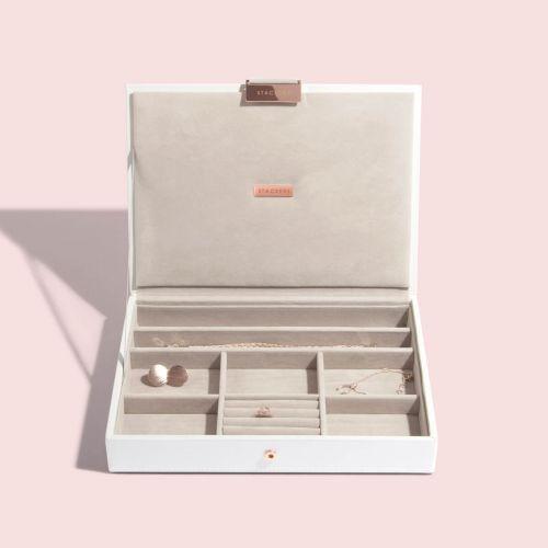 białe & Rose Gold Classic pudełko na biżuterię z pokrywką Classic biel i różowe złoto