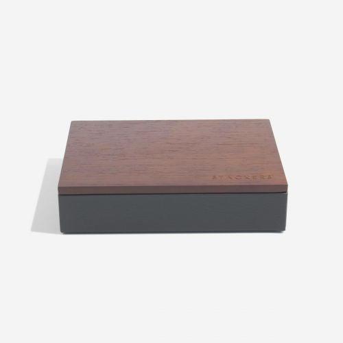 pudełko na spinki do mankietów z pokrywką antracytowe