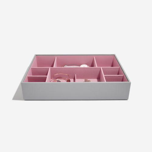 pudełko na biżuterię i zegarki Supersize szaro-różowe