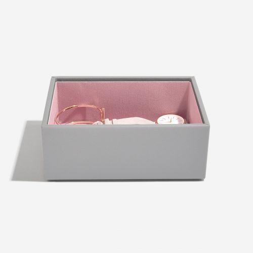 pudełko na biżuterię i zegarki Mini szaro-różowe