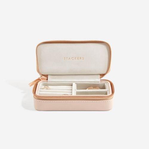 średnie pudełko na biżuterię Travel pudrowe
