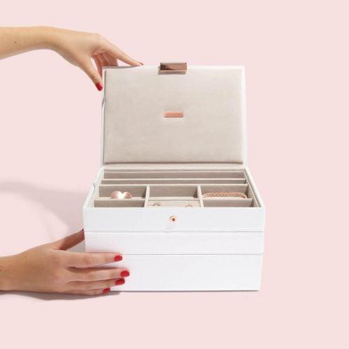 pudełko na biżuterię Classic biel i różowe złoto