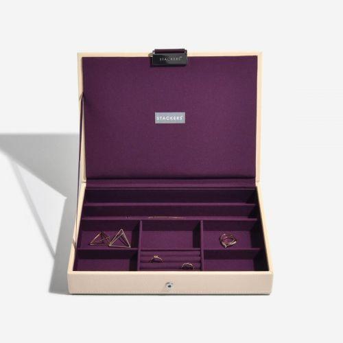 pudełko na biżuterię z pokrywką Classic kremowe