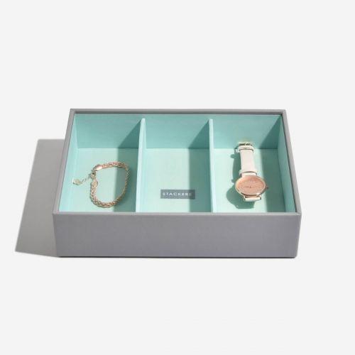 pudełko na biżuterię i zegarki Classic szaro-miętowe