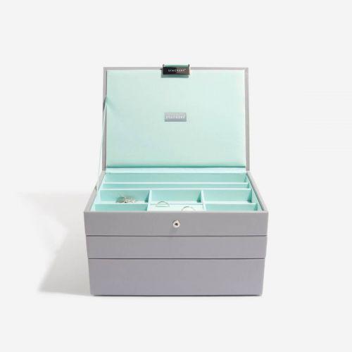pudełko na biżuterię Classic szaro-miętowe