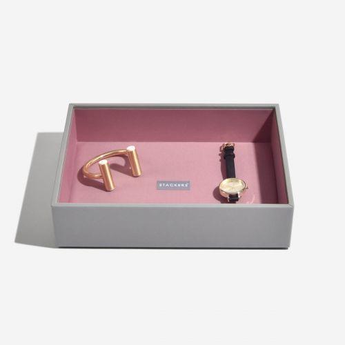 pudełko na biżuterię Chunky Classic szaro-różowe