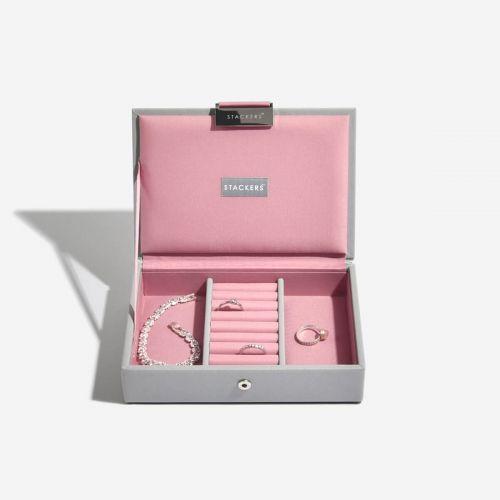 pudełko na biżuterię z pokrywką Mini szaro-różowe