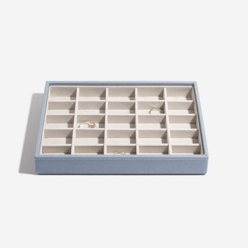 małe pudełko na drobną biżuterię szaroniebieskie