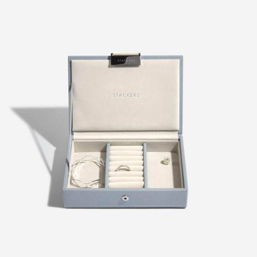 pudełko na biżuterię z pokrywką Mini szaroniebieskie