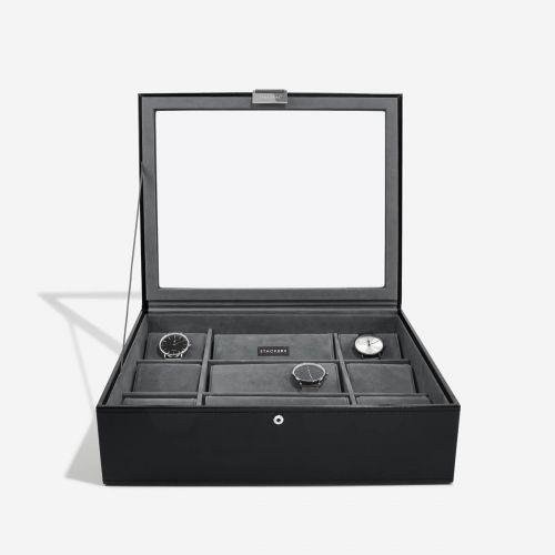 pudełko na zegarki z pokrywką 15 komór czarne