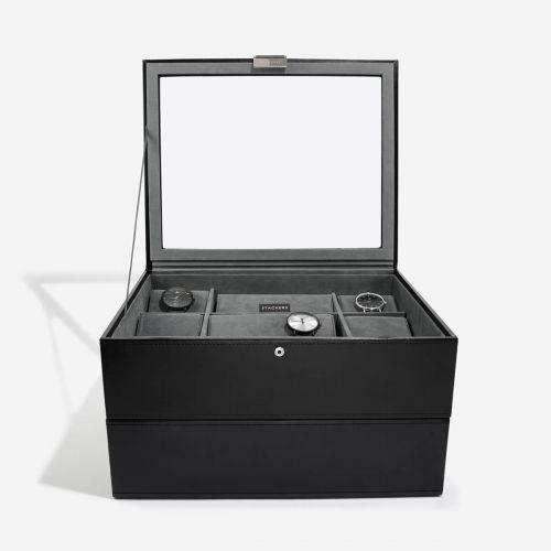 pudełko na zegarki z pokrywką 30 komór czarne