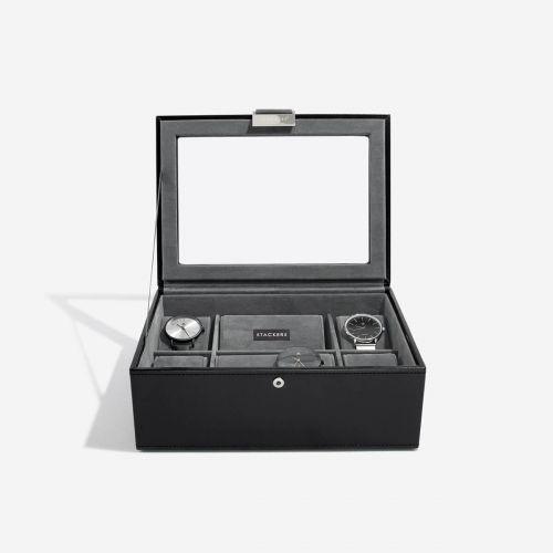 pudełko na zegarki 8 komór czarne