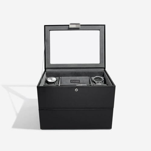 pudełko na zegarki 16 komór czarne
