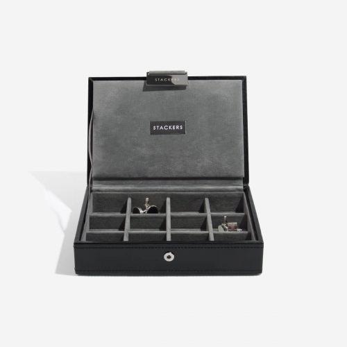 pudełko na spinki do mankietów z pokrywką czarne