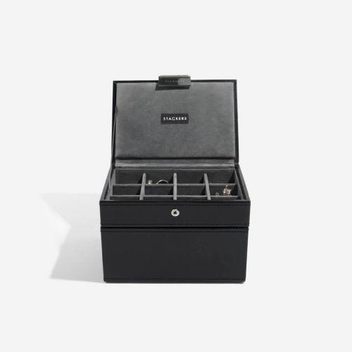 pudełko na zegarki i spinki do mankietów z pokrywką czarne