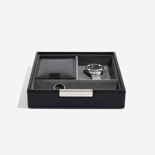 pudełko na zegarki i spinki do mankietów kwadratowe czarne
