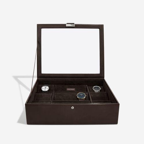 pudełko na zegarki z pokrywką 15 komór czekoladowe