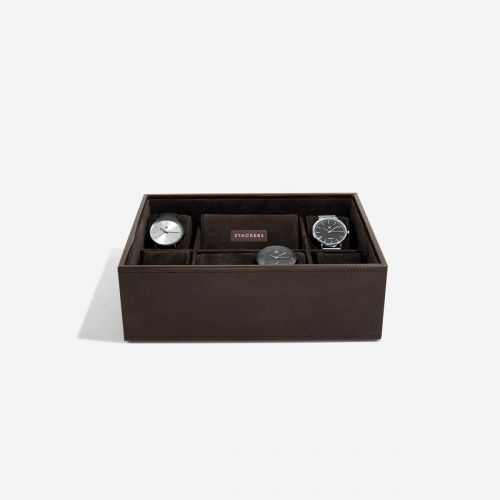 pudełko na zegarki 8 komór czekoladowe