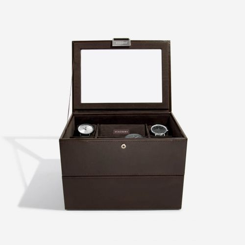 pudełko na zegarki 16 komór czekoladowe