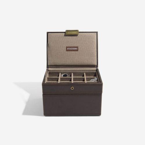 pudełko na zegarki i spinki do mankietów ciemnobrązowe