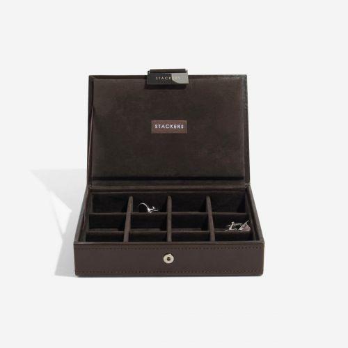 pudełko na spinki do mankietów z pokrywką czekoladowe