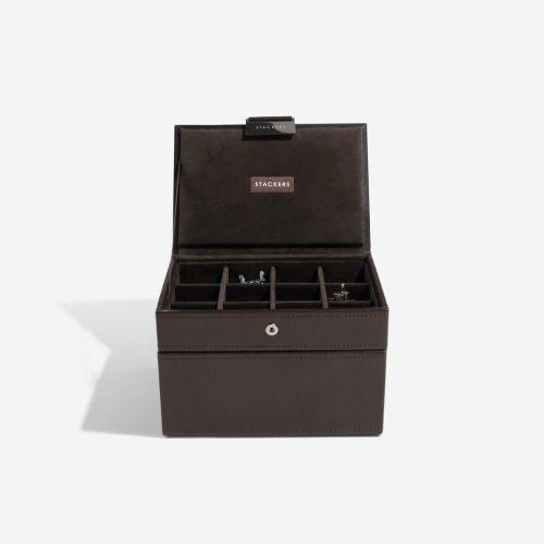 pudełko na zegarki i spinki do mankietów czekoladowe