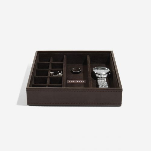 pudełko na spinki do mankietów kwadratowe czekoladowe