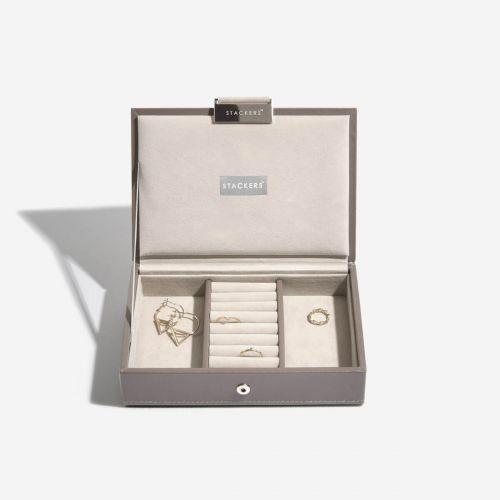 pudełko na biżuterię z pokrywką Mini szarobeżowe