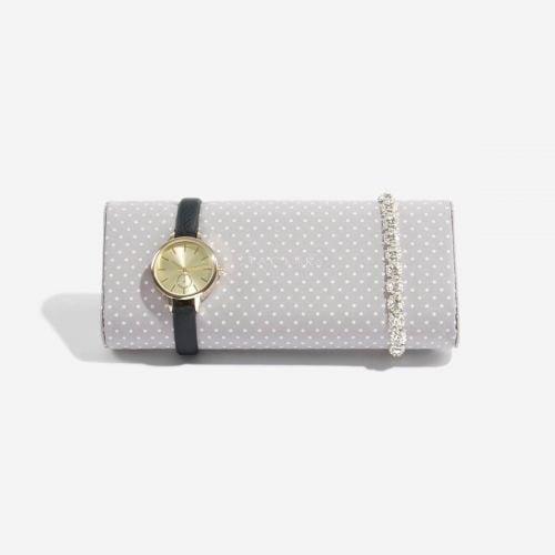 poduszka na zegarki i bransoletki szara w kropki