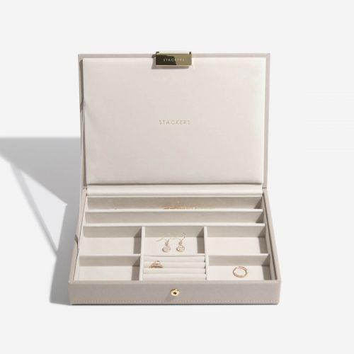 pudełko na biżuterię z pokrywką Classic taupe