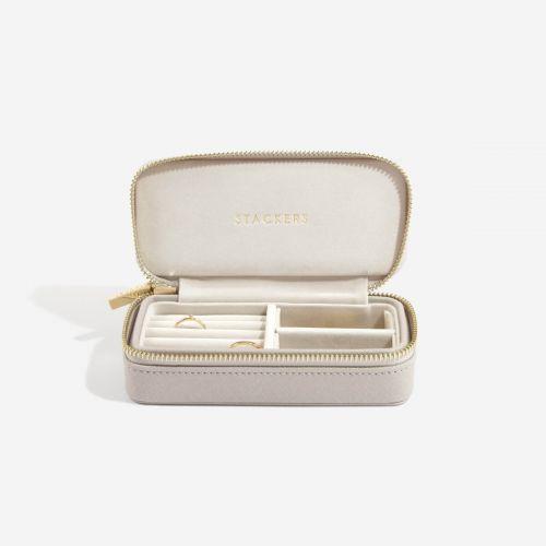 średnie pudełko na biżuterię Travel taupe