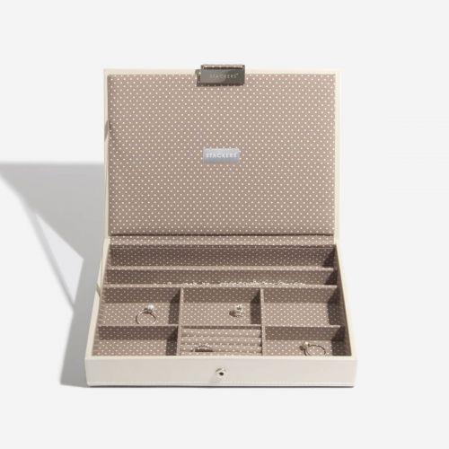 pudełko na biżuterię z pokrywką Classic waniliowe