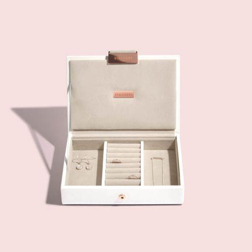 pudełko na biżuterię z pokrywką Mini biel i różowe złoto