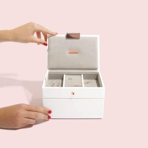 pudełko na biżuterię Mini biel i różowe złoto