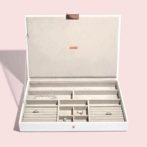 pudełko na biżuterię z pokrywką Supersize biel i różowe złoto