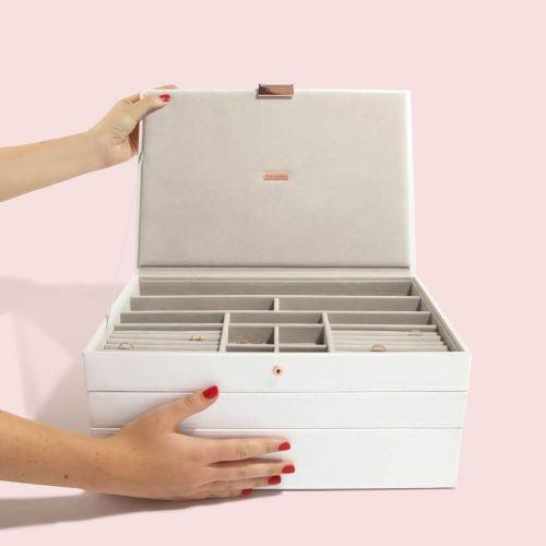 pudełko na biżuterię Supersize biel i różowe złoto