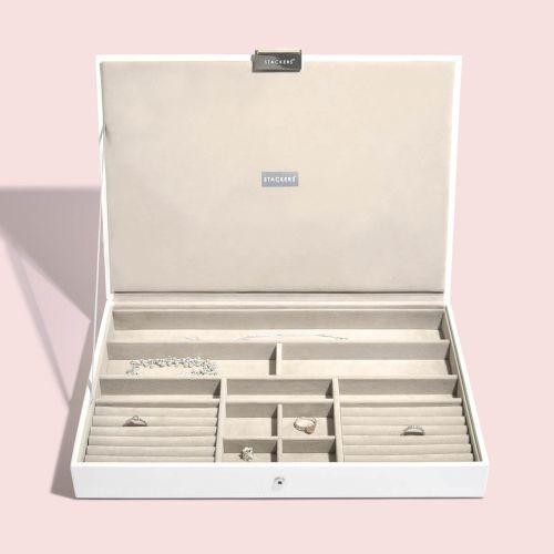 pudełko na biżuterię z pokrywką Supersize białe